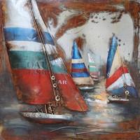 Metalen schilderij 3d 100x100cm Regatta 4