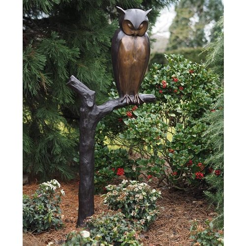 Eliassen Beel bronze Owl on branch large