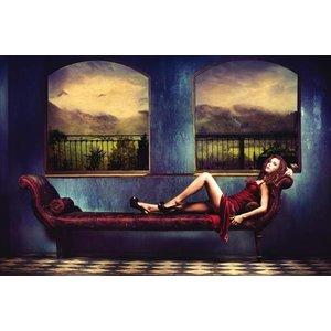 Eliassen Foto op glasschilderij Relaxende dame