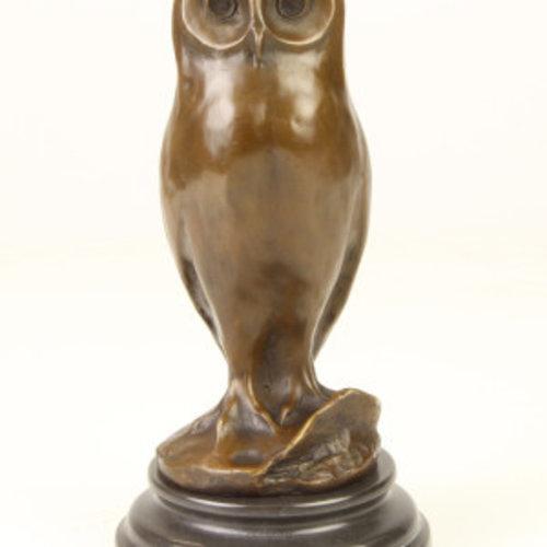 Bronzen beeld jonge uil