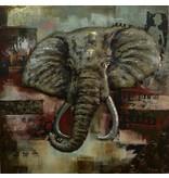 Eliassen 3 | D Malerei Elefant groß 100x100cm