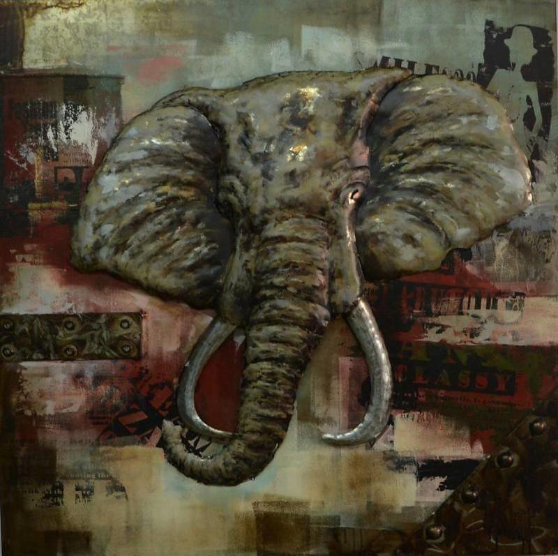 Eliassen 3   D Malerei Elefant groß 100x100cm