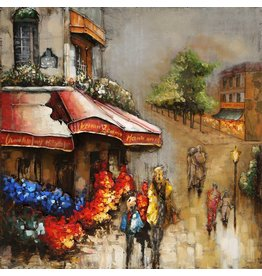 Eliassen Metal painting Flowershop 80x80cm