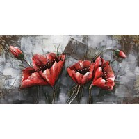 Metal 3d painting Red Flower1 120x60cm