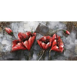 Eliassen Metall 3d Malerei Red Flower1 120x60cm
