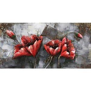Eliassen Metall 3d Malerei Red Flower1 120x60cm
