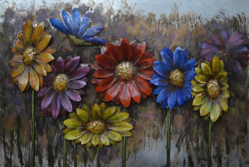 Eliassen 3D schilderij ijzer 80x120cm Gerbera's