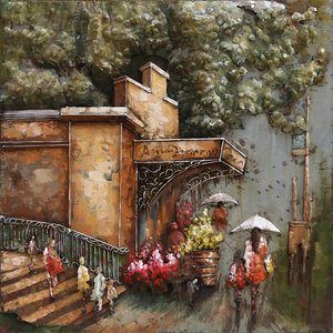 Eliassen 3D painting metal 80x80cm Flower shop