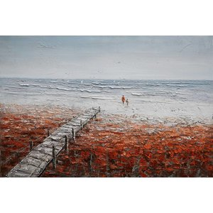 Olieverf schilderij 120x80cm Alleen