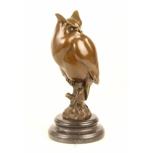 Bronzen beeld Uil op marmer voet