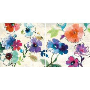 MondiArt Tweeluik glas Bloemen waterverf