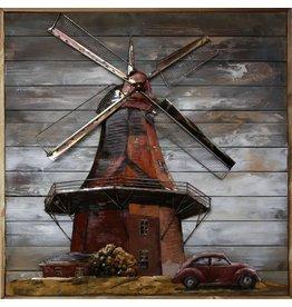 Schilderij 3d  metaal-hout Hollandse Molen 100x100cm