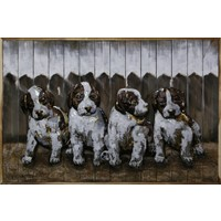 Painting iron-wood Puppies 80x120cm