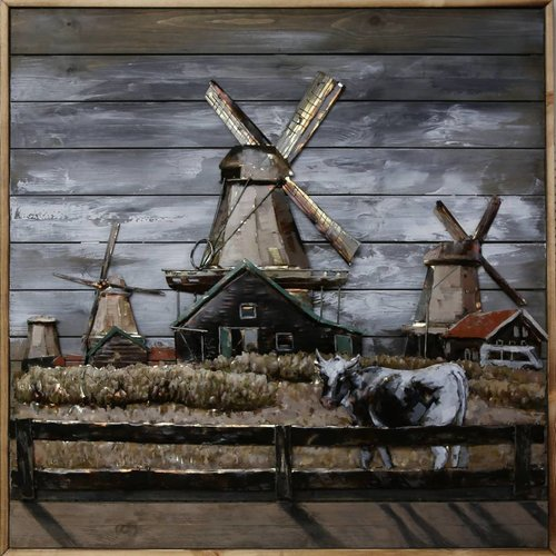 Painting iron-wood De Zaan 100x100cm