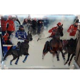 MondiArt Schilderij XXL glas Polospelers  120x160cm