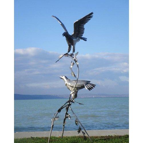 Eliassen Paar Vögel auf Baumstumpf Adler exklusiv