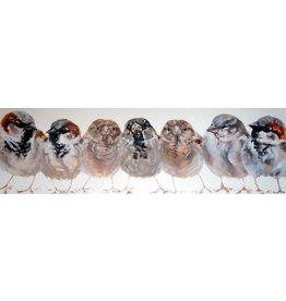 Schilderij Vogels op een rij 60x200cm