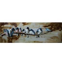 Eliassen 3D-Malerei 90x30cm Vögel auf einem Ast