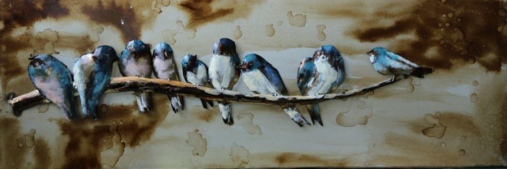 Eliassen 3D schilderij 90x30cm Vogeltjes op tak