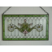 Stained glass window French lilies 50x88cm
