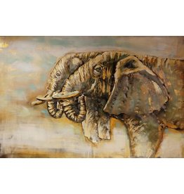 Schilderij 3D metaal Twee Olifanten