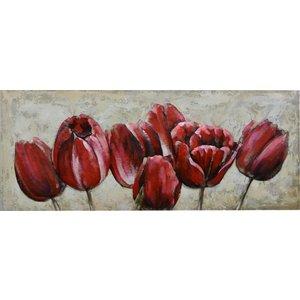 Gave Schilderij 3d metaal 60x150cm Rode tulpen