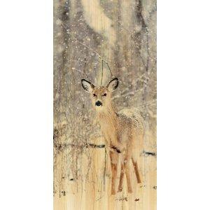 Wandkraft Malerei Birkenholz Hirsch 48x98cm
