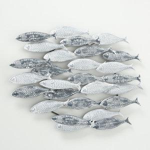 Wanddekoration Metall Fische Schule