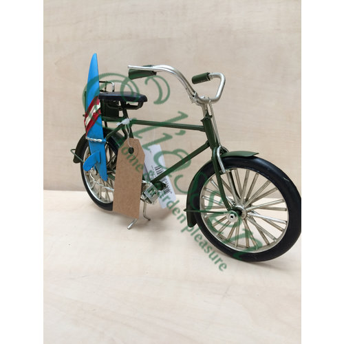 Miniature model bicycle with surfboard