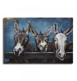 3d schilderij metaal Ezels 120x80cm