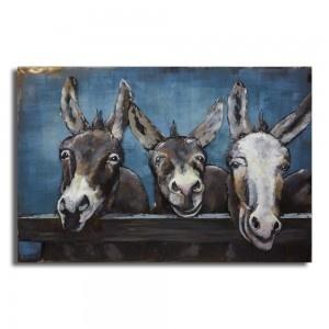 3d painting metal Donkeys 120x80cm