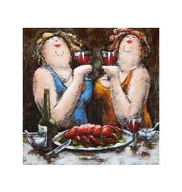 Eliassen 3d painting metal 60x60cm 2 Ladies