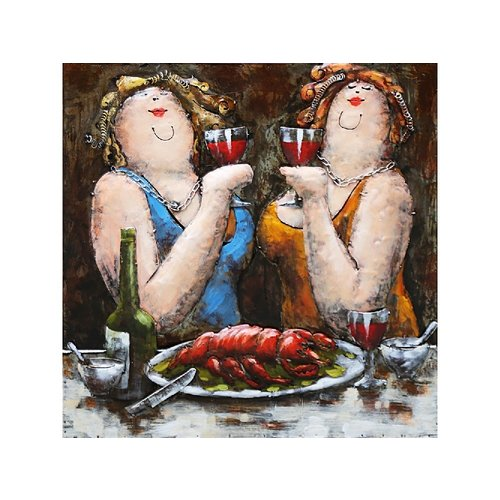 Eliassen 3d painting metal 60x60cm 2 Dames
