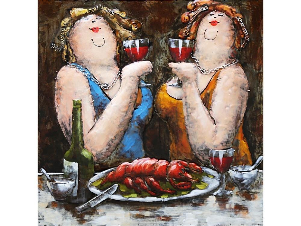 Eliassen 3d schilderij metaal 60x60cm 2 Dames