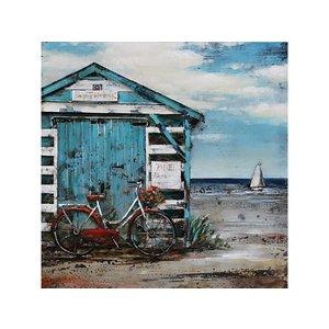 Eliassen 3d schilderij metaal 60x60cm Strandhuis