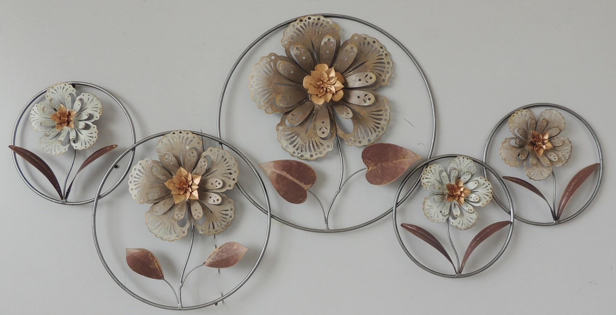 Muurdecoratie 3d  Bloemen in cirkels 64x124cm