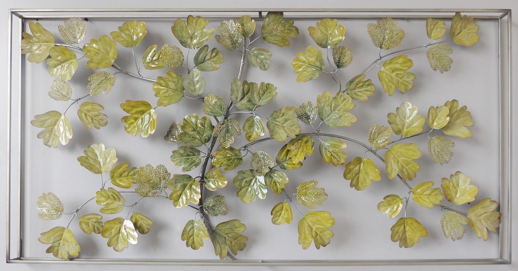 Wanddekoration 3D in Rahmen Laub 135x7x70cm