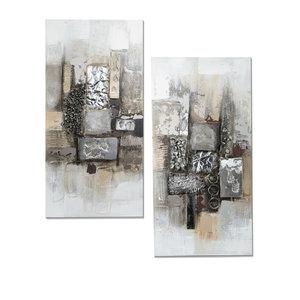 Olieverf schilderijen set Tweeluik  Modern Antiek