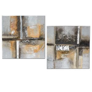Olieverf schilderijen set Tweeluik  Abstract 2