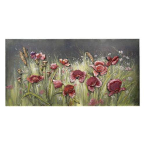 3d painting metal 60x120cm Flowers