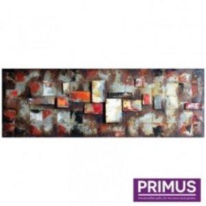 Primus Metalen schilderij 3D 50x150cm blokken