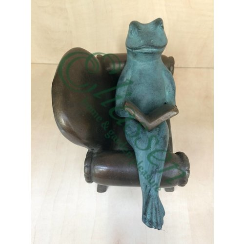 Eliassen Beeld brons luierende kikker in stoel