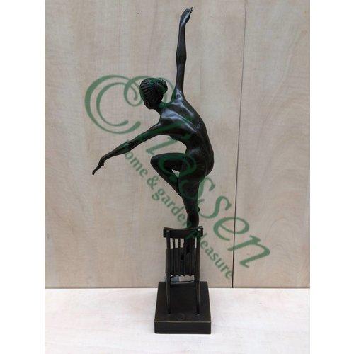 Beeld brons Danseres op stoel