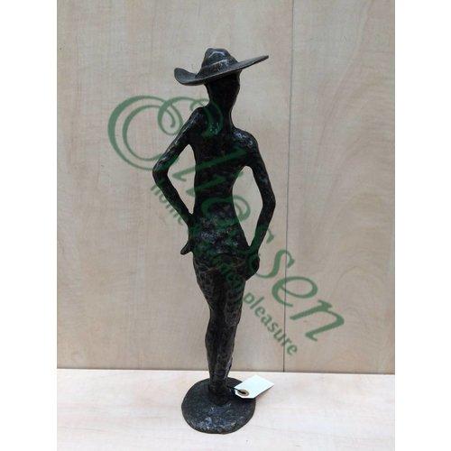Eliassen Beeld brons vrouw met hoed