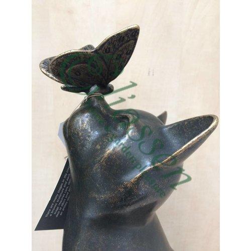 Eliassen Beeld brons kat met vlinder
