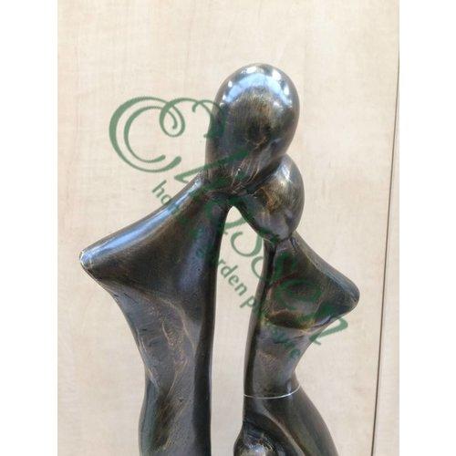 Bronzeskulptur Familie 2 Kinder