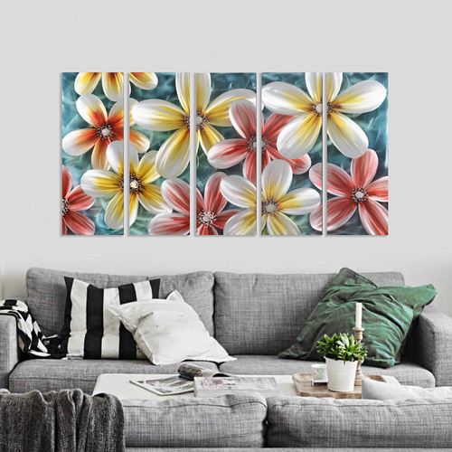 Malerei Aluminium Fünfkampf Blumen 80x150cm