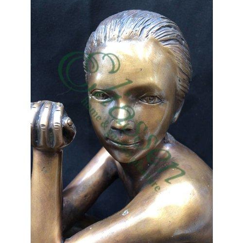 Eliassen Beeld brons zittende naakte vrouw