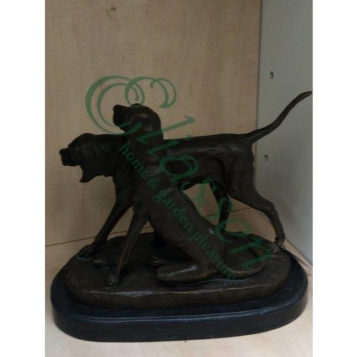 Eliassen Beeld brons staande en zittende hond
