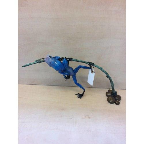 Eliassen Blauer Frosch der Bronzestatue zwei auf einem Zweig